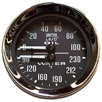 Dual Gauge, Water Temp / Oil Pressure, Smiths, Black