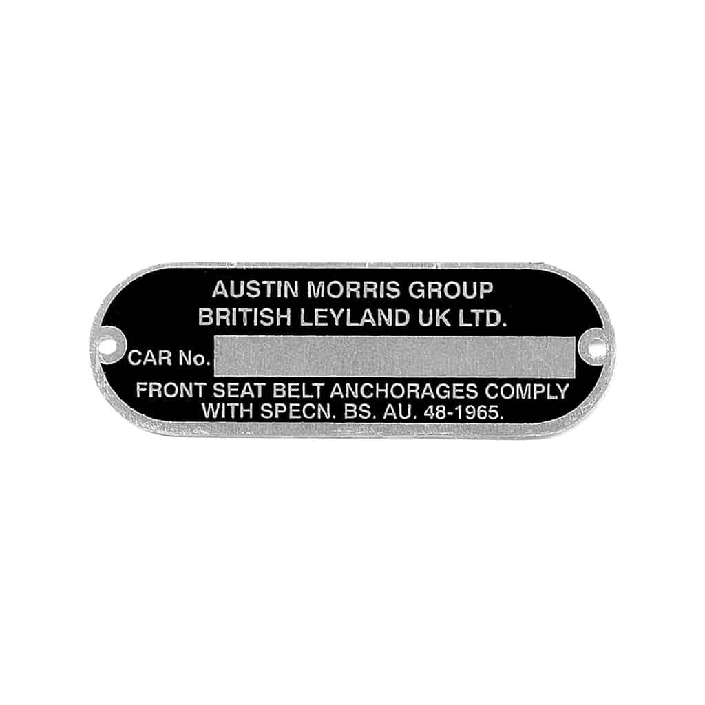 VIN Plate, Austin Morris Group