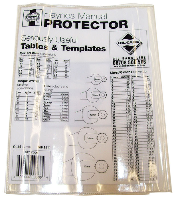 Haynes Manual Protective Cover (MP1111)