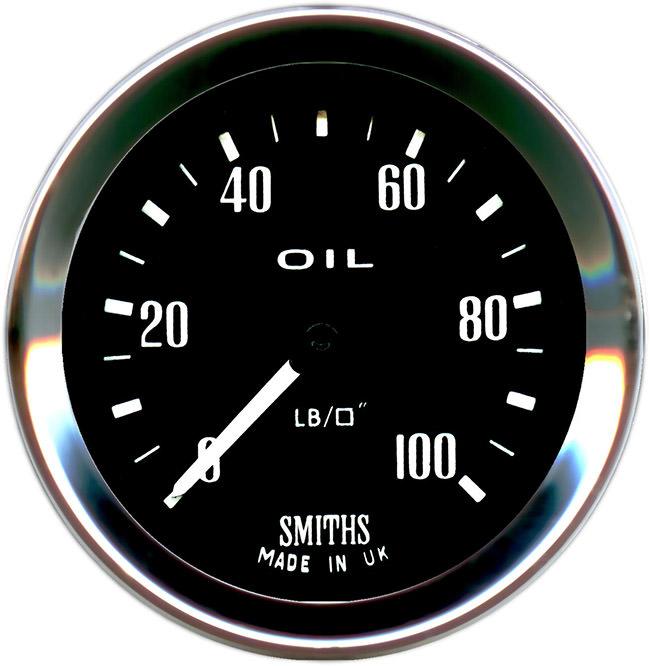 Oil Pressure Gauge, Smiths, Black
