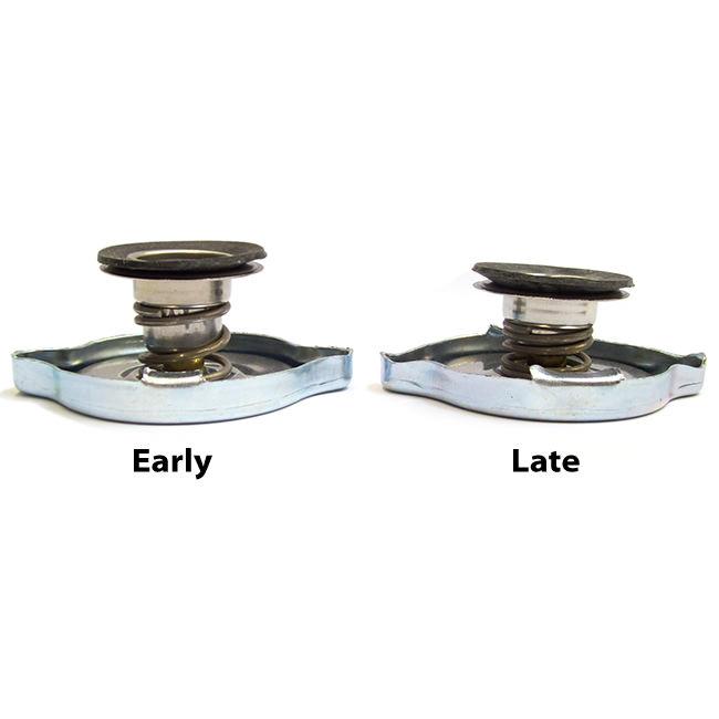 Radiator caps, early vs late versions