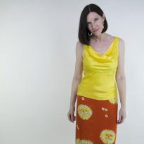 Orange Hand Dyed Japanese Silk Skirt by Kirsten Wolff