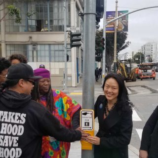 New SoMa pedestrian crossing debuts on Walk to Work Day