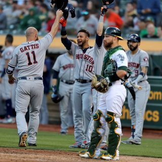 Gattis, Astros punish Blackburn, A's — again