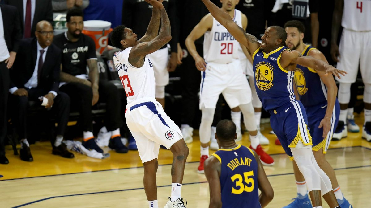 dd5be052b56b Los Angeles Clippers guard Lou Williams (23) scores in the fourth period as  the Los Angeles Clippers face the Golden State Warriors in Game 5 of the  first ...