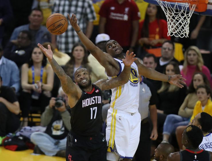 15012be0f594 Scot Tucker SFBay Golden State Warriors forward Kevon Looney (5) and  Houston Rockets forward P.J. Tucker (17) fight for a rebound in the fourth  period as ...
