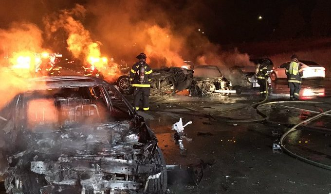 Multi-vehicle fiery Hwy 101 crash results in one dead, two injured