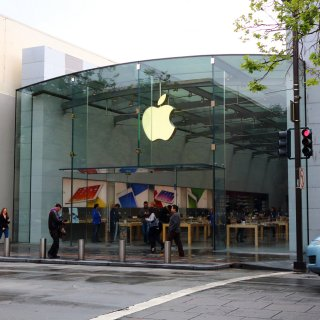 Four burglary suspects are in custody after allegedly smashing a car through a portion of the front glass windows of the Apple store on University Ave. in Palo Alto.