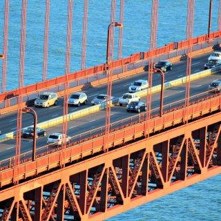 Golden Gate Bridge barrier broken and stuck