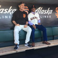Heliot Ramos and Bruce Bochy