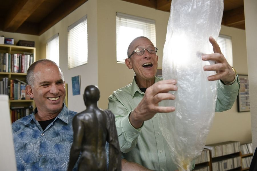 Goldman and partner Michael Koehn enjoy a Volcano vaporizer --- a desktop unit that fills a bag with cannabis vapor. Vaporizers cut out the carcinogens associated with smoking cannabis. PHOTO: Michael Short for San Francisco Chronicle