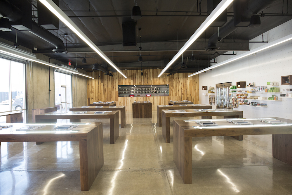 MedMen's retail aesthetic channels Apple store vibes. Above, MedMen's Santa Ana, Calif. location.
