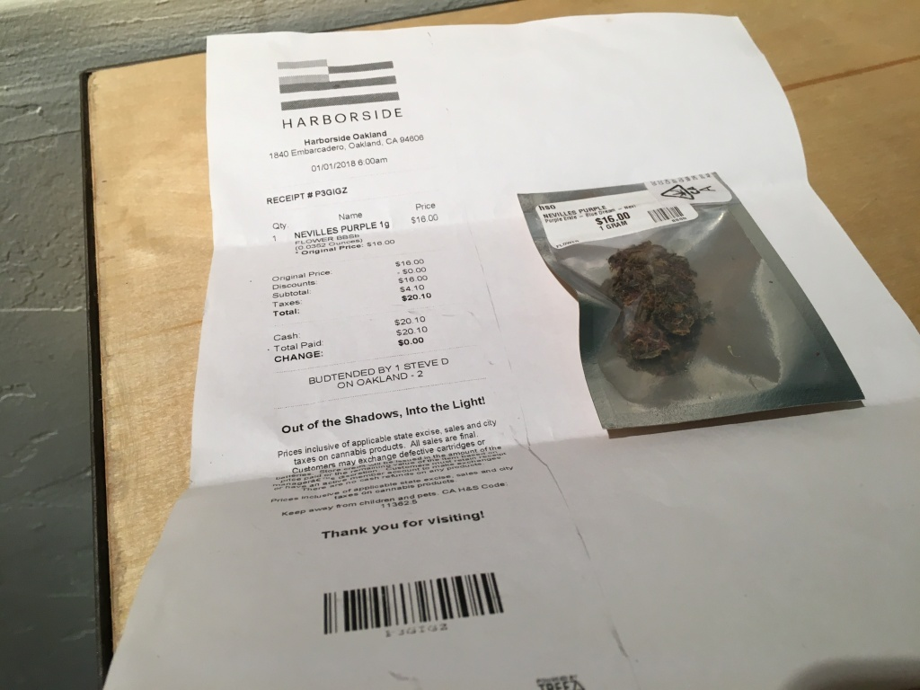 Receipt and purchase of California's first legal gram.