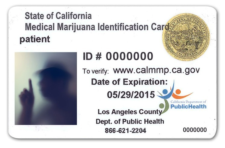 An example of an official California medical marijuana ID card