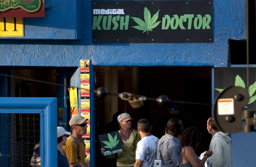 High-traffic medical cannabis recommendation clinics like this one in Venice Beach, Calif. in 2010 are closing amid full legalization. | Photo: AP Photo/Adam Lau