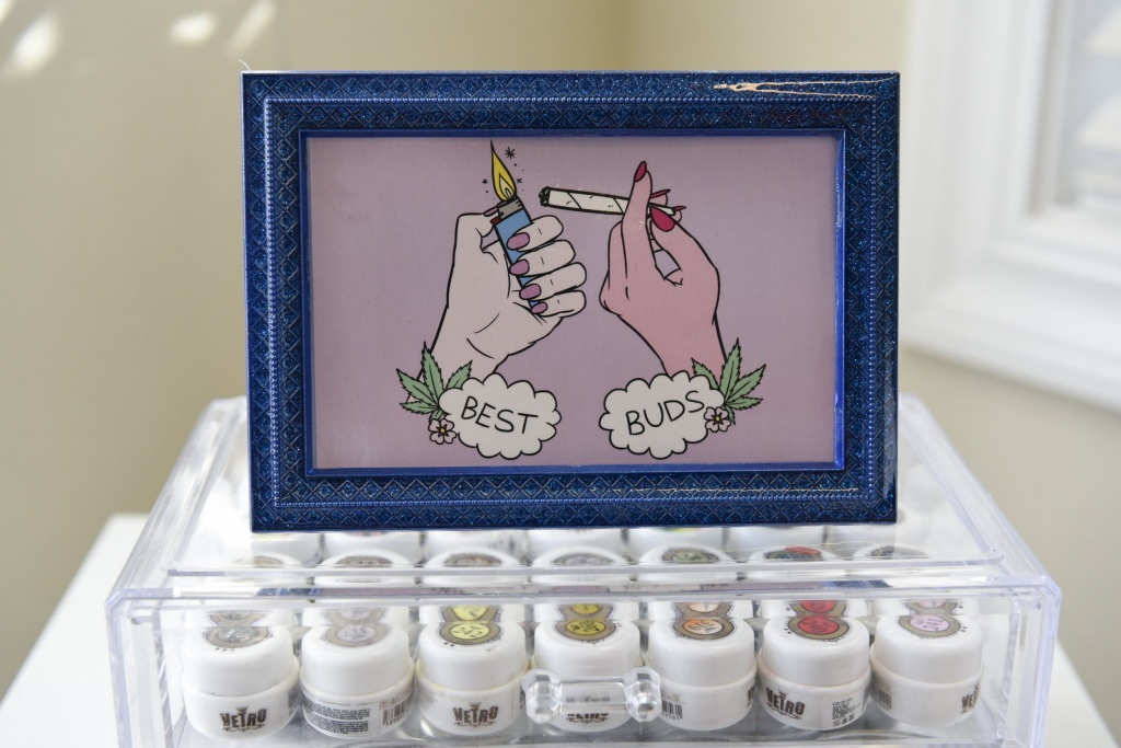 A picture sits atop a case of nail polish at Christina Blea's Dabulous Nail Bar, at her home in Richmond, Calif., on Wednesday January 31, 2018.