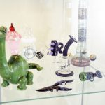 A case displays various glass ware at Christina Blea's Dabulous Nail Bar, at her home in Richmond, Calif., on Wednesday January 31, 2018.