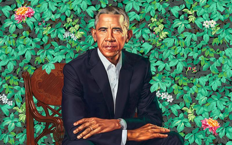 Kehinde Wiley's portrait of President Barack Obama.