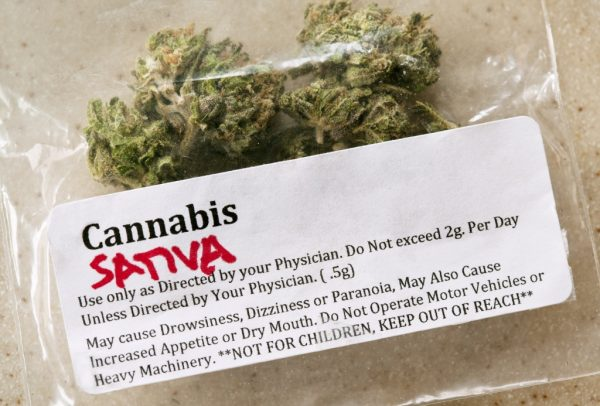 Bag of medical marijuana with prescription label and warnings.   Photo: Getty