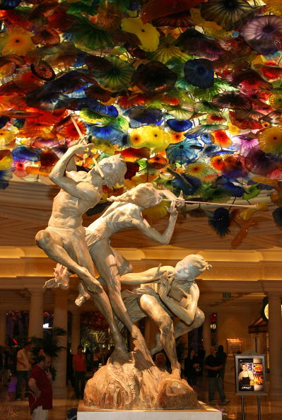 "Artist Richard MacDonald's bronze sculpture ""Joie de Vivre"" is seen in the lobby of the Bellagio during the grand opening reception for The Art of Richard MacDonald presented by Cirque du Soleil gallery April 17, 2008 in Las Vegas, Nevada. 