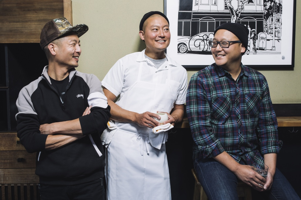 Chef Dennis Lee of S.F.'s Namu Gaji (center) is creating cannabis edibles with Sublime Concentrates. He's seen here with his brothers David (left), and Daniel (right) at the restaurant in 2016. | GreenState file photo
