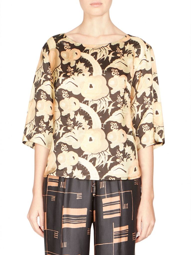 For a more relaxed and updated cannabis chic look, without fussy details that could lead to sensory overload, this Cleo floral T-shirt by Dries Van Noten ($455) and geo print elastic waist pant ($530) lend a sense of ease.. Available at Saks Fifth Avenue. | Photo courtesy of Saks Fifth Avenue