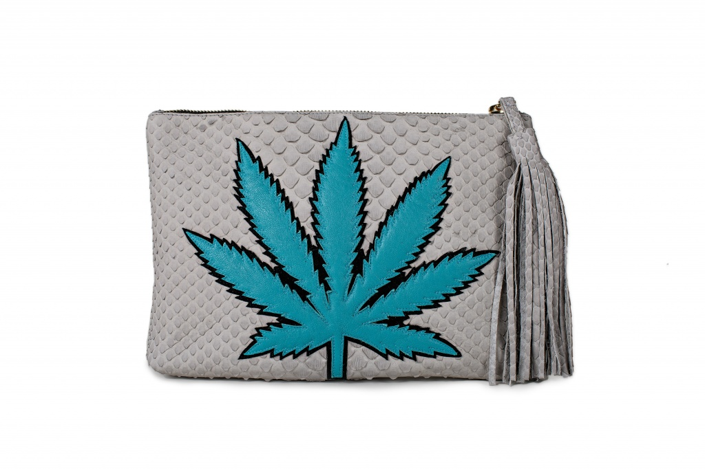 A marijuana leaf-embellished snakeskin clutch purse by Jacquie Aiche is one way to broadcast your enthusiasm for 4/20 without being over the top. From the Sweetleaf collection; $2,000 at https://jacquieaiche.com | Photo courtesy of Jacquie Aiche.com