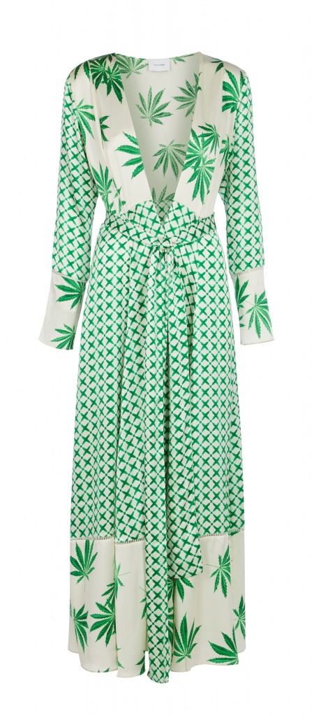 A Tallulah trench with MJ leaf pattern by We are Leone makes for a whimsical topper for a dress, jeans or bathing suit underneath on 4/20, or any day. $575 at www.weareleone.com | Photo courtesy of WeAre Leone.com
