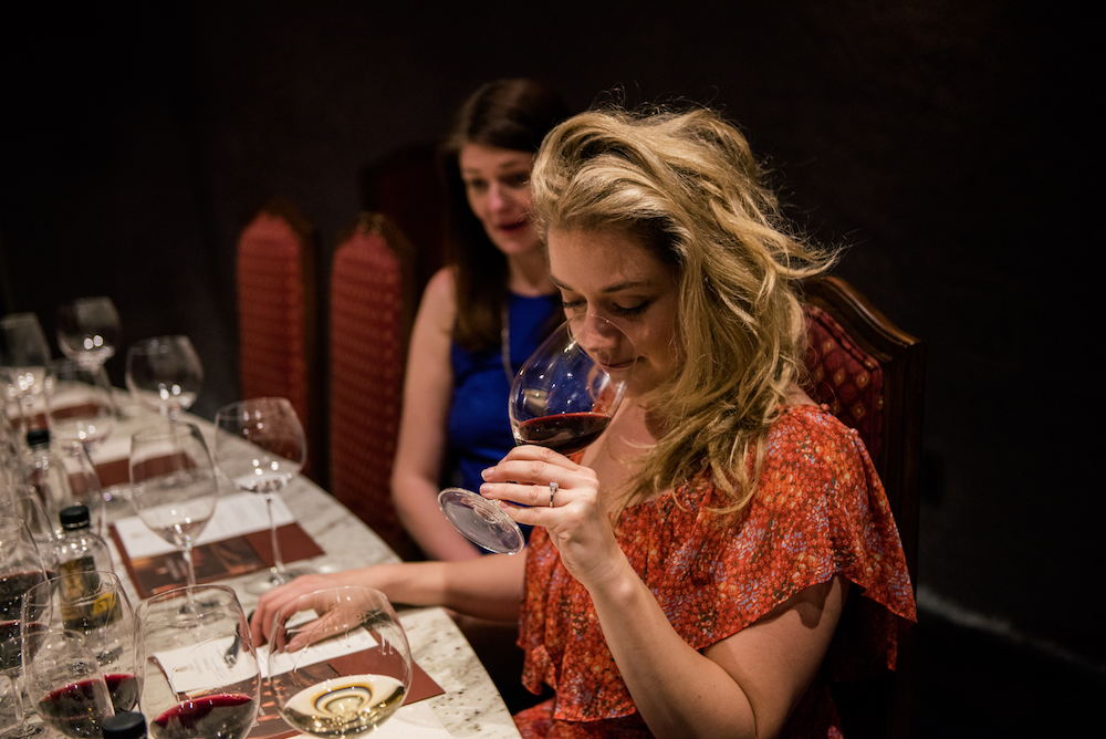 Jarvis, winery, wine cave, wine tasting, woman smelling wine, California, The Press