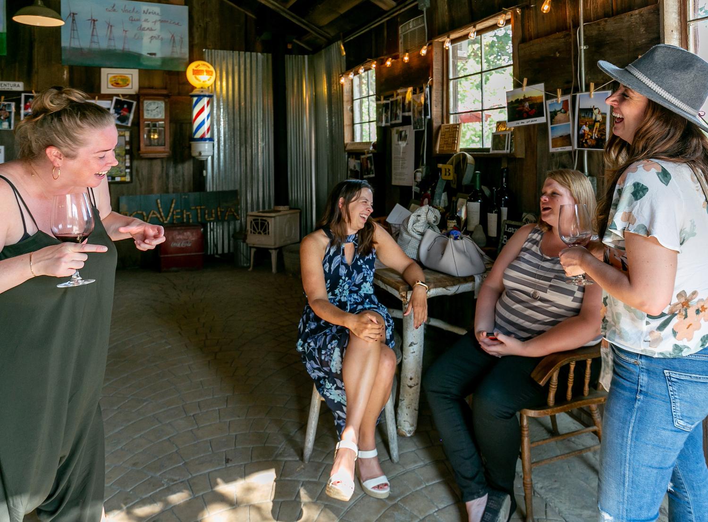 BoaVentura, winery, tasting room, wine tasting, women drinking wine, barn winery, relaxed wine tasting, Livermore, California, The Press