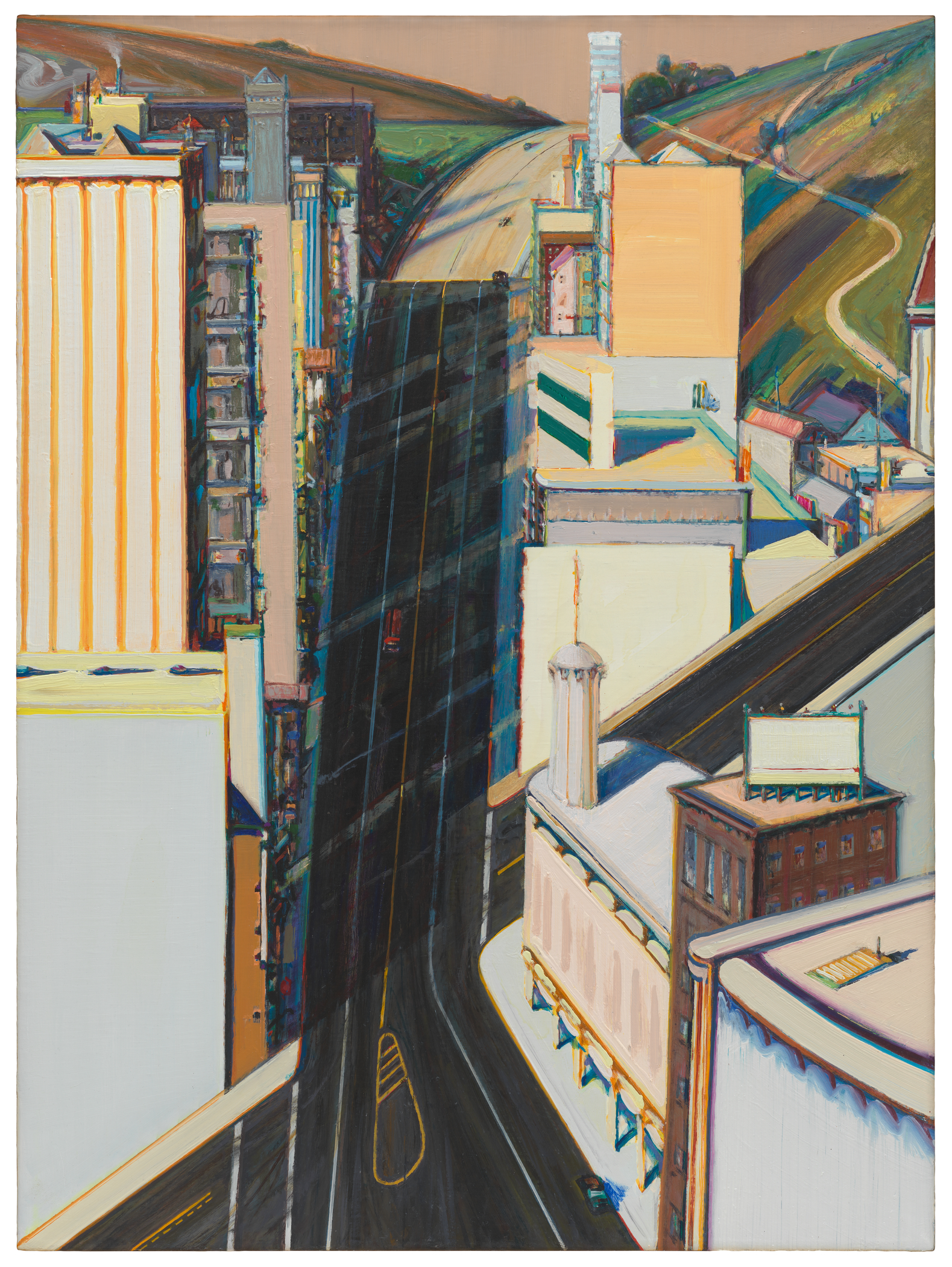 <p>This four-foot-tall, three-foot-wide oil painting depicts a steep street running up a hill through a city. Though there are many buildings on either side of the main street, no people are visible. The main street, covered in black tarmac and thin lane markings, cuts straight up the center of the canvas, so steep that it appears almost vertical. On both sides of the street, tall buildings are lined up one behind the other, rendered in pastel oranges, blues and creams. A second street cuts across the main artery at another improbably steep angle, starting at our lower left and exiting the canvas half way up the right side. At the top of the painting, behind the last of the buildings, the setting abruptly switches to a pastoral landscape. Sloping green and brown fields fill the upper corners of the canvas, and the straight black city street becomes a tan, sunlit road that curves up between them.</p>