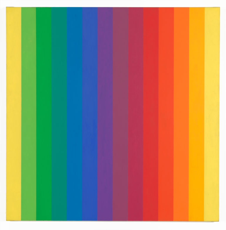 Square canvas composed of fourteen solid-colored vertical bands ranging the color spectrum