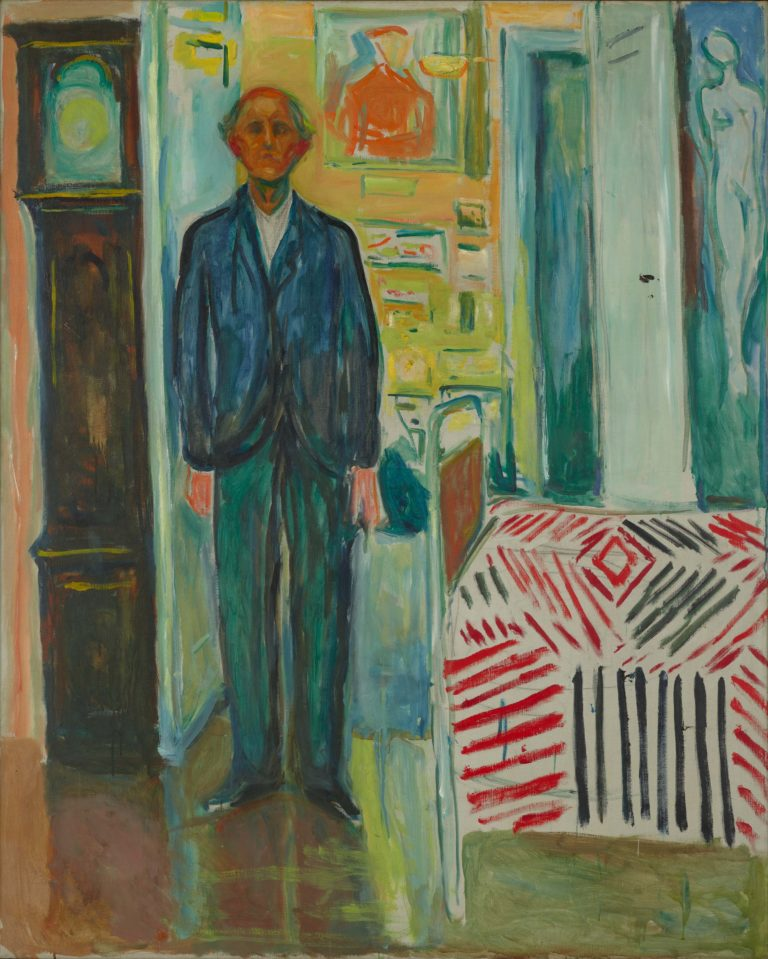 A painting of a man standing between a clock and a bed
