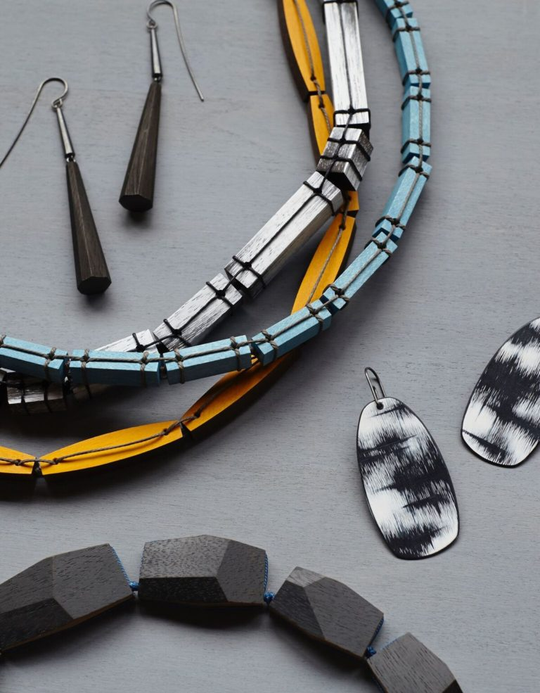Jewelry made of painted wood by designer Julia Turner