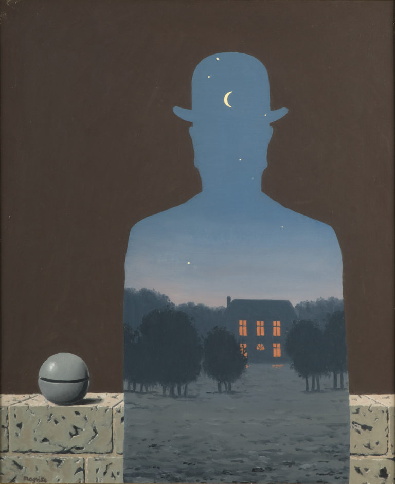 Silhouette of a bowler-hatted man filled with a twilit landscape and starry sky