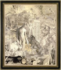 "<p>This graphite collage drawing, which measures almost six feet tall and five feet wide, is epic in scope and detail. The piece is blanketed with dozens of intricate, allegorical drawings that contain scores of characters, symbols, landscapes, and patterns. The central figure is a beautiful, lithe young man who kneels, in the nude, to our left of center, gazing toward a dark pool of water. In one hand he holds what appears to be a backscratcher, and in the other he holds a Krazy Kat comic strip – while giving us the middle finger. Behind him, on a rocky peak, stands another naked young man who has black eyes, a kaleidoscope halo, and a bow and arrow. Other details include an Egyptian-style sphinx, the Hoover Dam, a hexagram, the Star of David, the Pied Piper, bees in honeycomb, apartment buildings, flocks of birds, hills with eyes, the phrase ""Is Love Enough"", and a unicorn.</p>"