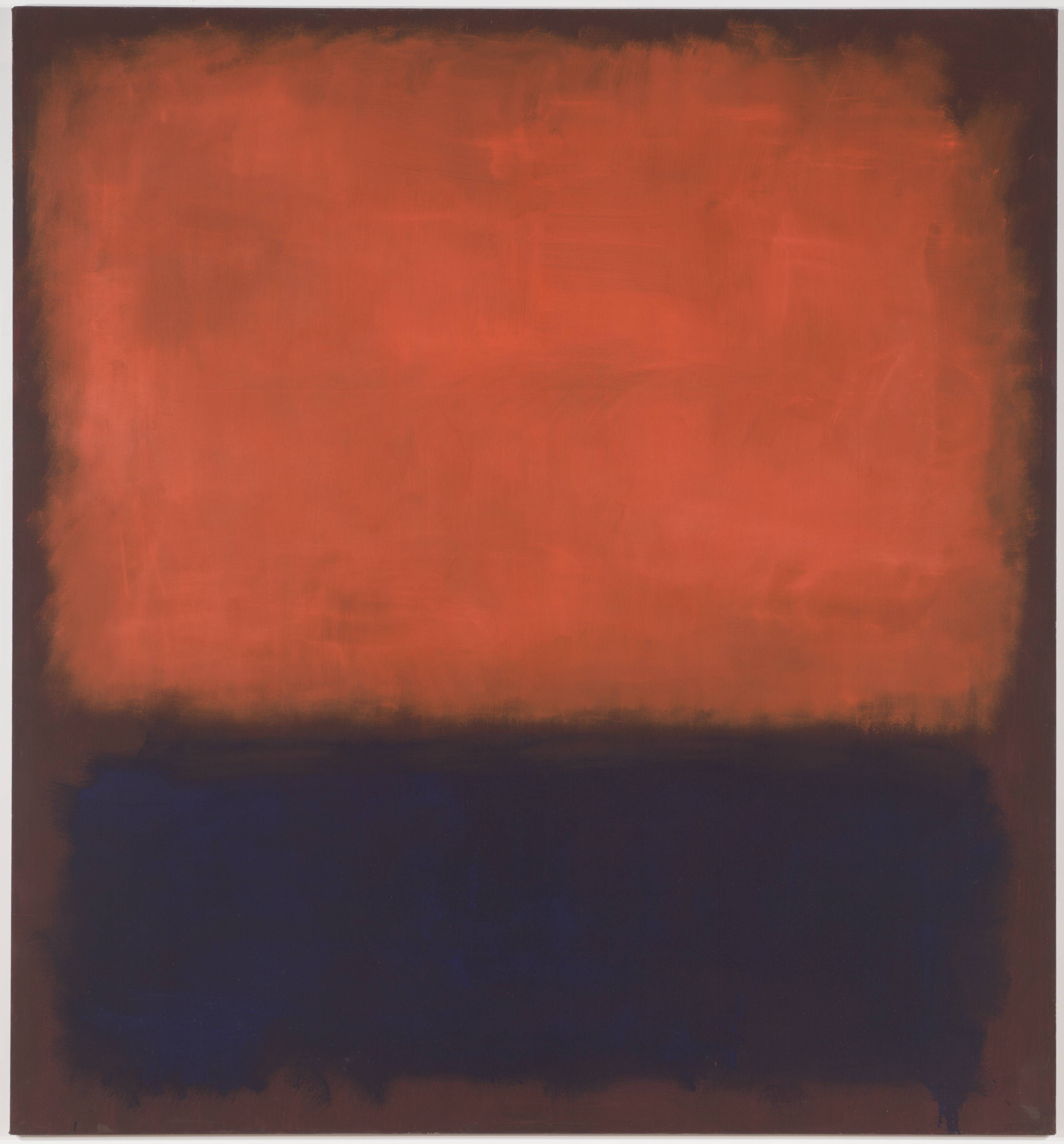 <p>This oil painting features two roughly rectangular patches of color on a canvas that is nine-and-a-half feet tall, and almost nine feet wide. On the bottom third of the canvas is a patch of dark indigo blue, painted with quick, rough brushstrokes. Near our lower right-hand corner, the paint is so thick that it drips down and off of the canvas. A larger rectangle fills the top two thirds of the painting. This patch is a mottled, velvety, red-orange color that appears, in places, to glow from within. The two patches are separated and framed by a background the color of auburn hair. While the loose, sketch-like brushstrokes are evident in both patches, especially along the edges, the indigo rectangle on the bottom is far more dense. In contrast, the luminous red-orange patch is filled with bright streaks that resemble light trails, or neon afterglow.</p>