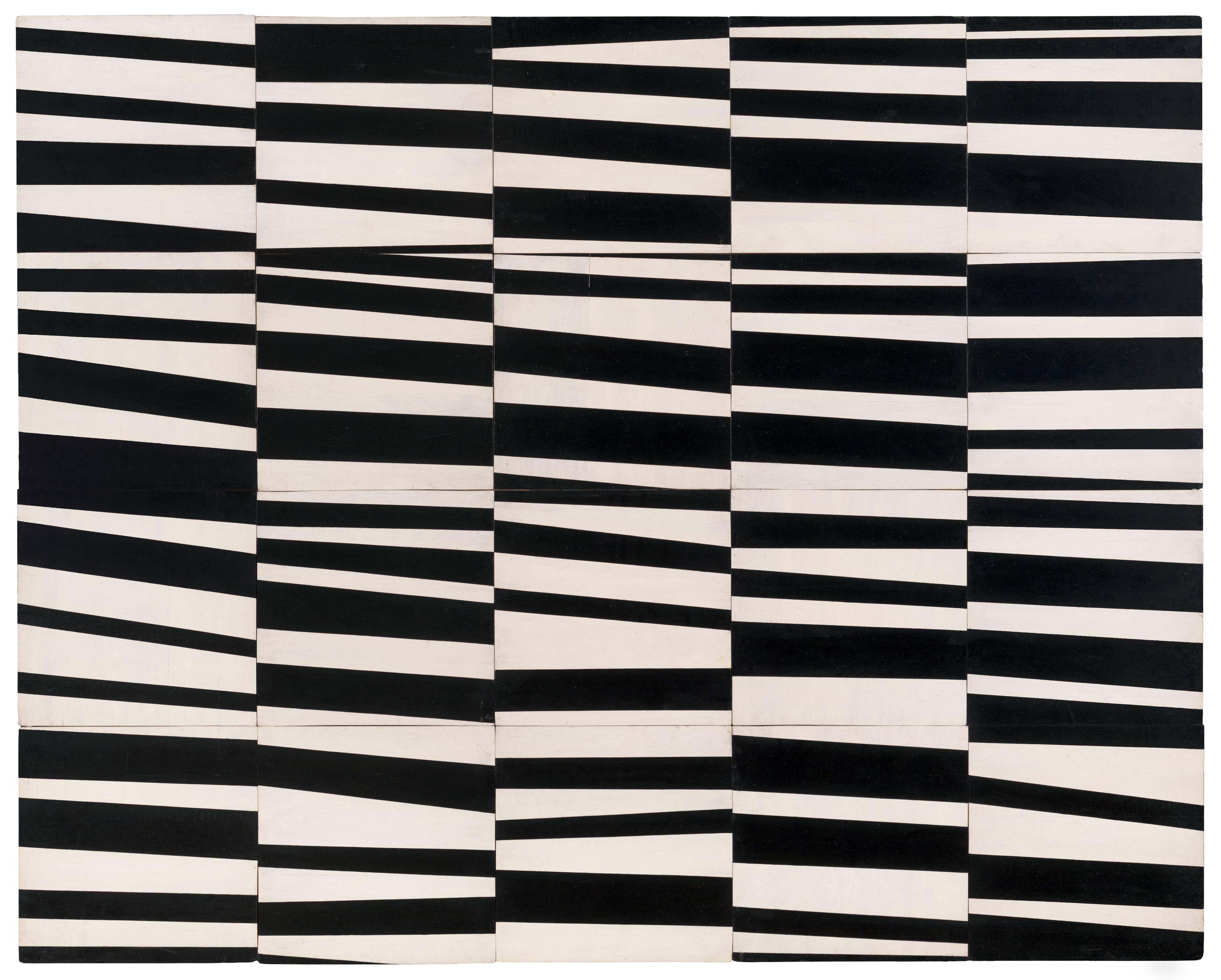 <p>This abstract painting features twenty separate panels, each approximately fourteen inches square, joined together to create a single rectangular piece five panels wide and four panels tall. Each panel is painted with irregular black and white stripes, all roughly horizontal or on slight angles. In some instances, the disjointed stripes line up with those on neighboring panels, and match their width or trajectory, but in most cases they do not. The result is a stark patchwork pattern of severed stripes that create optical illusions of depth and movement.</p>