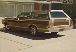 <p>A 1970's wood-paneled station wagon is the subject of this photorealist oil painting. The car, a moss-green Gran Torino with mustard-yellow trim and dark wood panelling, sits in a driveway with its trunk at our right and the hood to our left. The car is pristine, as is the pale driveway beneath and the closed garage door at its nose. A dark shadow lies beneath the car, and sunlight reflects off of the windshield and washes over the garage door in rippling waves. Light from the unseen sun plays on the car windows and shines on the chrome roof rack, side mirror, and steel bumper. Every detail has been included in this four-foot tall, nearly six-foot wide painting: a thin line of grass grows in the crack between the driveway and the sidewalk; the dealer name 'Berkley Golden Bear Ford' adorns the license plate frame; the valve stems are present on the tires; and the nearly hidden muffler can be found in the dark shadow underneath the car.</p>