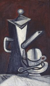 <p>In this vertical, still-life painting, a stove-top coffee maker stands on a table beside a cup and saucer. The objects are painted in grisaille, a somber grey monochrome, as is the table, but the background is a dark mahogany color. The coffee pot, composed of flat surfaces and sharp angles, stands on our left with its C-shaped handle near the edge of the canvas. The lid of the pot is diamond-shaped and has a round ball on top, while the spout is long and erect, with its sharp tip pointing toward the upper right hand corner. Beneath the spout sits the cup and saucer, which are round and curvy; almost plump in comparison. The top of the cup has been flattened into a full circle that faces us, and is marked by a vertical seam that runs down the center. The piece is rendered with thick oil paints and discernible brushstrokes that reinforce the tall, angular nature of the coffee maker, and the rotund curves of the cup and saucer.</p>