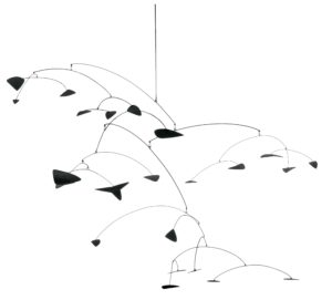 <p>This hanging mobile features twenty three metal leaves connected by more than a dozen wire arches. The kinetic sculpture hangs down more than five feet, and spans more than nine-and-a-half feet at its widest. The metal leaves are thin, slightly curved wedges, resembling tortilla chips or bent guitar picks, and have been painted black, as have the connecting wires. The wires vary in gauge, with the thicker ones used as main supports connecting one arch to another, while the thinner wires cascade downward, each with a single leaf on its tip. In this way, the pattern of the mobile resembles that of a tree with thicker limbs supporting bowing branches, which in turn support multiple twigs.</p>