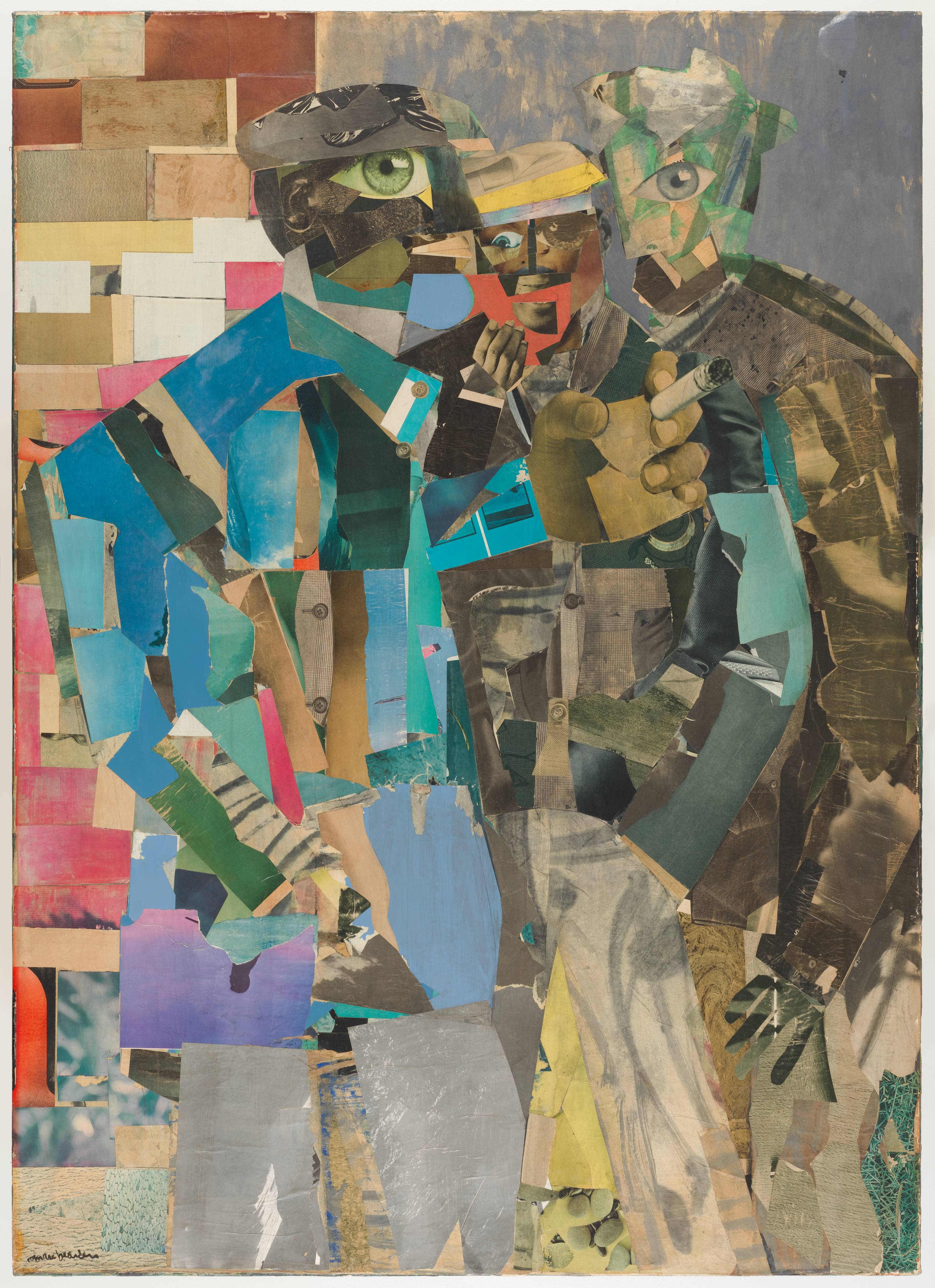 <p>This canvas, which is almost five feet tall and three-and-a-half feet wide, features a collage of painted paper, and details of images clipped from magazines. Three men are depicted from the knees up, standing close together. All three have large, oversized eyes, which have been sourced from magazine photographs. The man on our left is closest to us, and fills almost half of the canvas. He reaches across the others with a large hand, gripping a cigarette between his fingers. The man in the middle is the smallest of the three, and holds a tiny hand to his mouth while keeping the other in his pocket. The man on our right is the most loosely defined, and would be difficult to discern if not for the single, large eye in the middle of his face, and the cutout hand at the end of his long left arm. Most of the color in this collage can be found on the left hand side of the canvas. While the two men on the right wear dull clothing of brown paper scraps, the man on our left wears a blazer of blue and teal painted paper. The background on the right has been rendered with thin, blotchy, blue-gray watercolors, but behind the man on the left is a brick wall made of colorful paper rectangles.</p>