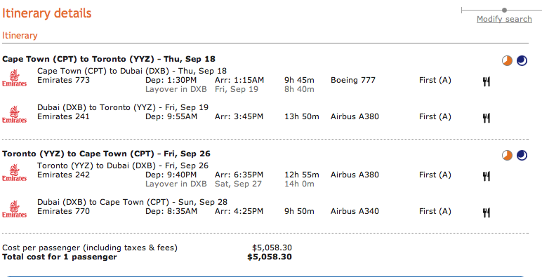 amazing emirates first class fares from cape town to north america