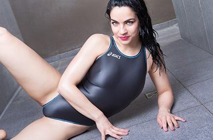 Valentina in a grey racerback, high leg Asics swimsuit