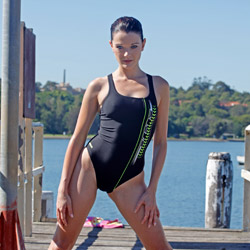 Miss SSS in a black and green pulse back, high leg Arena swimsuit