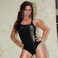 Marissa in a black high leg, racerback Arena swimsuit