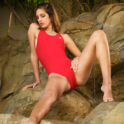 Franny in a red racerback, high leg Tyr swimsuit