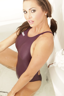 Marissa in a maroon racerback, high leg Asics swimsuit