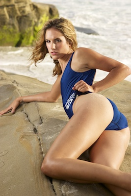Franny in an electric blue high leg, low back, low neck Speedo swimsuit