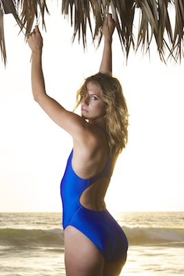 Franny in an electric blue high leg, racerback Tyr swimsuit